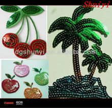 sequin patch/sequin embroidery patch/tree embroidery