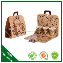high quality cardboard holder 3 coffee cup carrier
