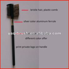 Professional eye brow and comb brush black handle