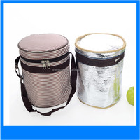 Round thick waterproof cooler bag lunch bags stripe insulation box