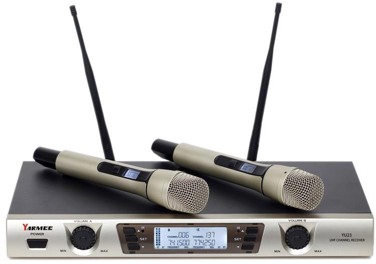 UHF двухканальная ручной беспроводной микрофон с 2 Каналов