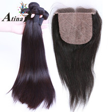 Top Quality Cheap Free Middle 3 Part Silk Base Closure With Bundles Straight Human Hair Brazilian Silk Top Closure Wholesale