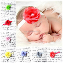 "Boutique 3"" rose chiffon rhinestone flowers felt infant headbands, Beatuiful baby shower hairbands cute hair accessories"