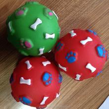 squeaky footprint and bone ball vinyl dog toys pet toys