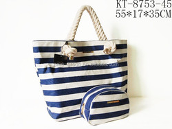 Lady Navy Blue Striped Canvas Beach Totes Shoulder Handbag Bags In Bags Tote Bags