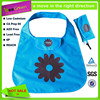 Customized cheap 190T nylon foldable bag with attached velcro pouch