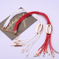 <<2016 new design long tassel multicolor necklaces leather women sweater handmade necklaces cheap leather jewelry/