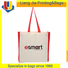 100% Cotton Canvas Tote Bags With Red Handle