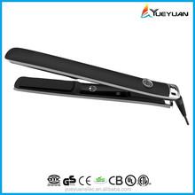 2015 new LED logo display ceramic / titanium professional hair straightener jet black rotating ceramic flat iron