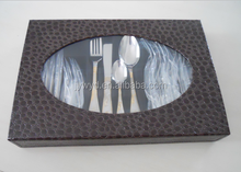 24pcs stainless steel cutlery set with leather case