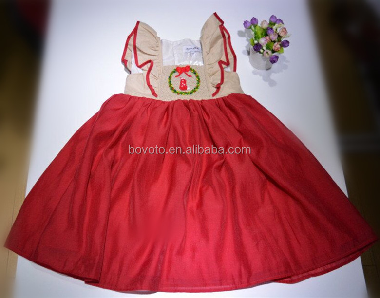 Girls elegant christmas party dress with christmas stocking embroidery