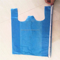 Blue color no printing hdpe plastic t-shirt shopping bag