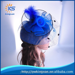 Bridal Mesh Feather Fascinate Hat on Hair Clip and Brooch