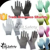 SRSAFETY PU coated safety gloves with 13 gauge knitted safety glove/white PU gloves