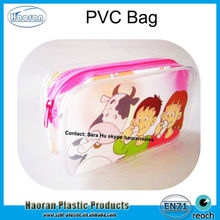Screen printing Clear PVC Pouch with zipper