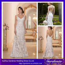 2015 New Fashionable Sweetheart Neck Spaghetti Straps High Quality Beaded Lace Column/Sheath Style Open Back Wedding Gowns