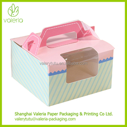 Paper Cupcake Packing Box with Handle Clear Window and Insert