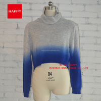 Fashion Dip Dye Turtle Neck Short Pullover Women Sweaters