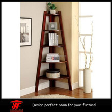 High Quality Discount Easy-Assembly Wooden Cherry Triangle Corner Shelf