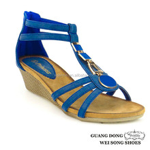 various colors open toe exquisite vamp decoration ankle strap comfortable high wedge sandals