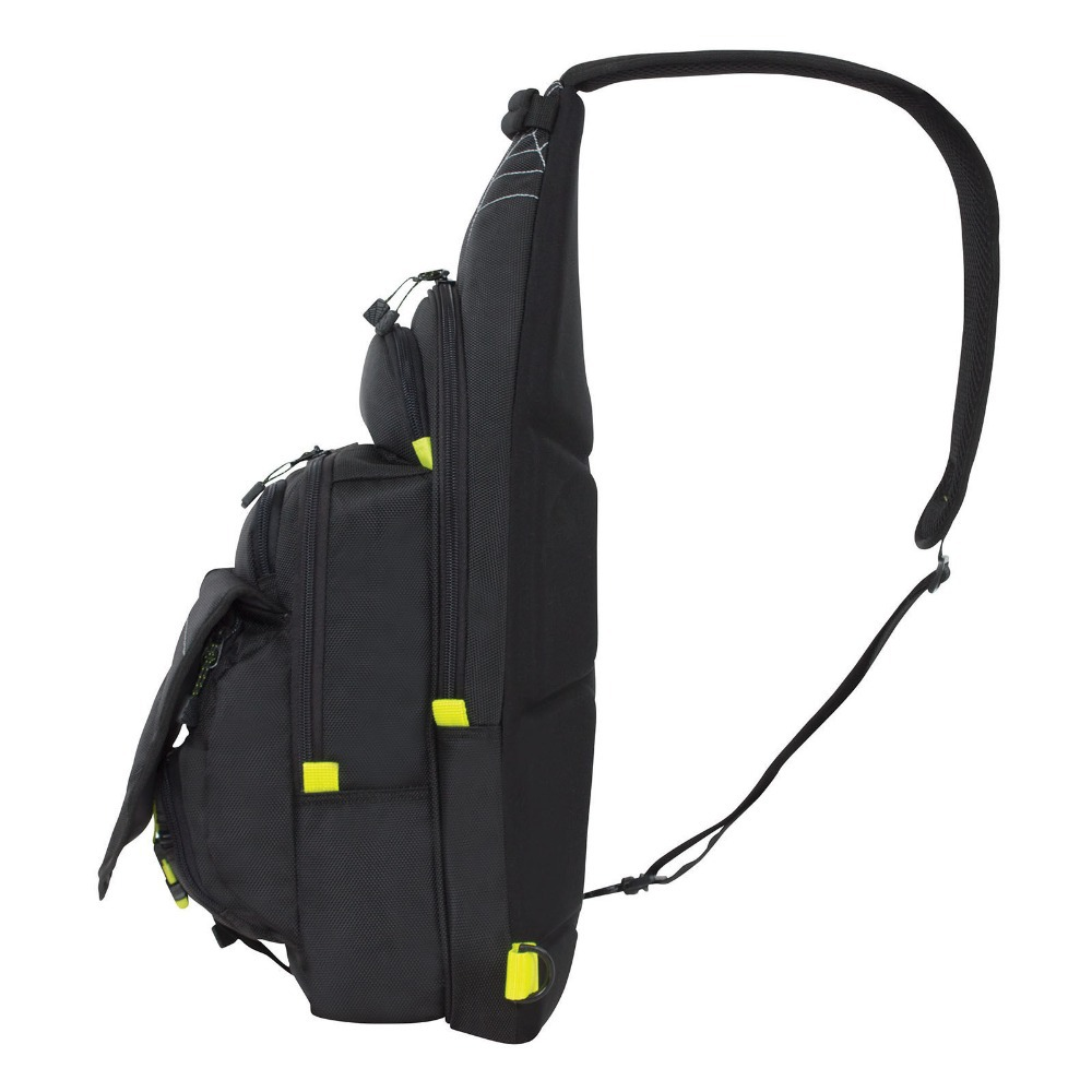 Fashionable black sling fishing tackle bag buy for Spiderwire fishing backpack
