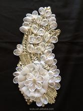 wuku lace chiffon flower crystal applique