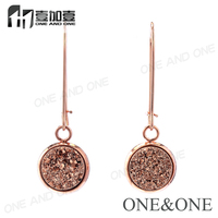 In stock!!! 2016 Newest Fasion Earring Natural Druzy Eardrop Round 10mm Rose Gold Drusy Stud Earring Wholesale