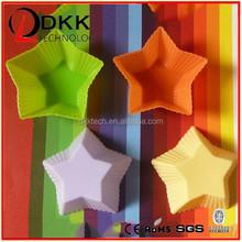 DKK-B016 products with food grade silica gel custom design mini cupcake moulds star shape silicone muffin cake pan FDA food grad