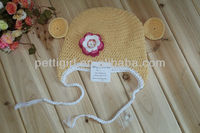 Baby Crochet Hat Pretty girl baby Cotton Mini Monkey Flap Hat with ears Beige with Oatmeal Trim and 3 layer flower Ready to ship
