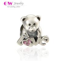 Alphabet Love Lucky Bear Model Large Hole Pure Silver Bracelet Charms