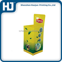 Recycled environmental cardboard dump bin display for lipton tea promotion