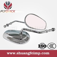 FLYQUICK Chrome and Black Motorcycle Aluminum Rearview Mirror for Harley DAVIDSON