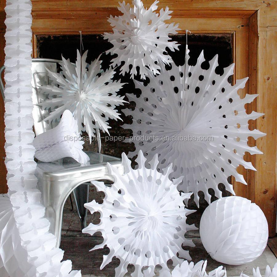 White Paper Tissue Fan Christmas Decorations Paper Tissue