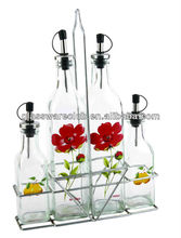 decorative glass bottle for oil, vinegar, sugar and pepper packing