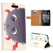 Wallet Style Cool Grey Cartoon Pattern Folio Magnetic Flip Stand Leather Case with Card Holder for HTC Desire 310