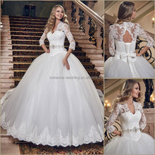 2015 New Design! AN0022 Appliqued Lace Heavy Beading Bow Belt Three Quarter Sleeve Tulle Ball Gown Wedding Dresses 2015