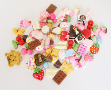 Strawberry Cookies Cakes Cherry Resin Cabochons Scrapbooking Fit Phone Decoration Embellishments