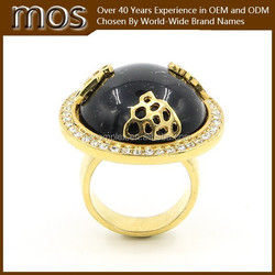Cute 14k gold plated black stones rings for women with rhinestones