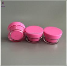 20gram empty pink plastic jar screw lid jar cosmetic