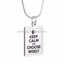 Divergent Keep Calm Choose Wisely Silver Pedant Necklace