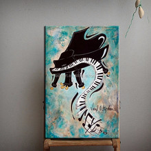 Top Quality Skilled Artist Design Professional Painter Handmade Abstract Modern Wall Decoration Musical Instrument Oil Painting