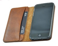 high quality handmade genuine leather mobile phone case with card holder