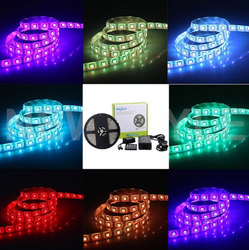 Waterproof 150LEDs 5M Color RGB LED Strip Light Kit with 20-key Music Sound Sense IR Controller and 12V Power Supply