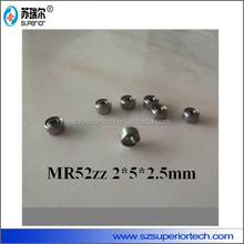 high speed rotation name branded MR52ZZ ball bearing supplier 2x5x2.5mm for embroidery machine parts