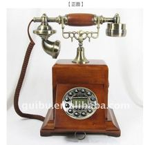 Hot sale European antique wood decorative old-fashioned telephone handicraft
