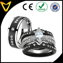 2015 Fashion Jewelry Wedding Ring Sets, His And Hers 4 Pieces Black Stainless Steel & Titanium Wedding Engagement Ring Band Sets