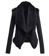 Ladies real rabbit fur coats with knit sleeves