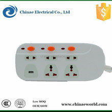 universal outlet ac power 110v~250v13a electric outlet extension sockets with usb british and colorful cable