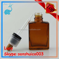 Top quality 30ml rectangular perfume glass bottle factory 15ml 30ml with color childproof & tamper dropper cap for e cig