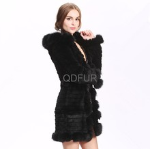 A80181 rabbit fur with fox fur collar white and black color winter women coat
